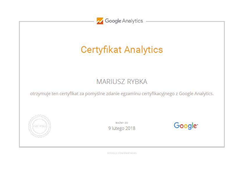 Certyfikat Google Analytics, Mariusz Rybka