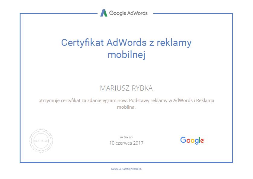 certyfikat-mariusz-google-mobile