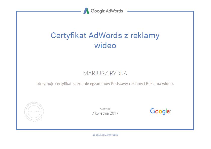 certyfikat-mariusz-google-video