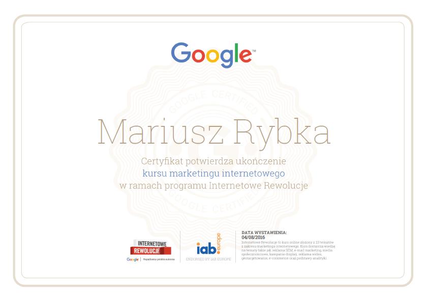 certyfikat-mariusz-internetowe-rewolucje