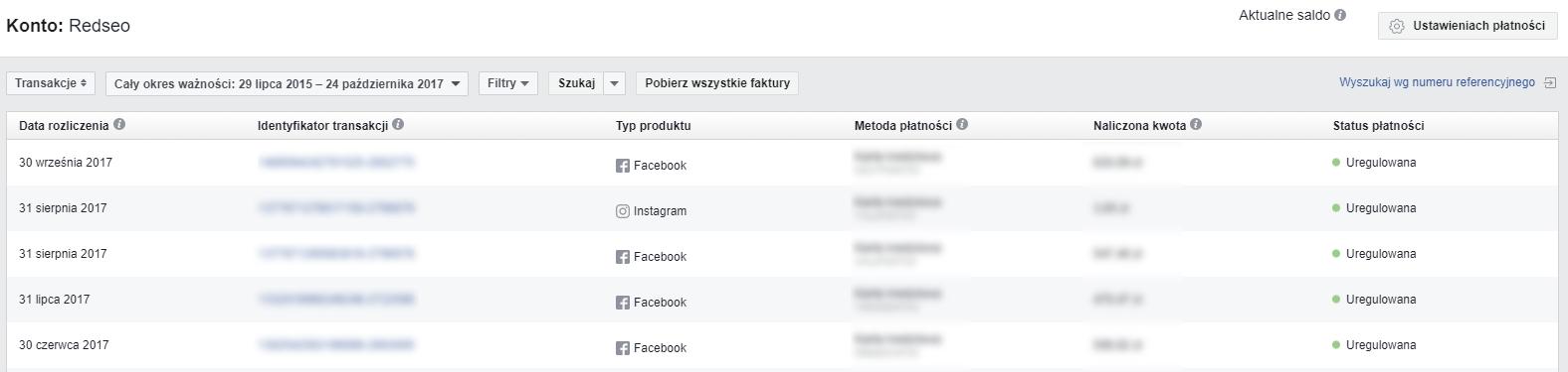 Pobieranie faktur z Facebooka