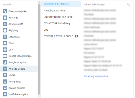 Łączenie GDS z Arkuszami Google
