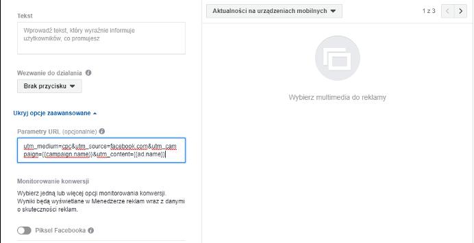 Parametry URL na etapie tworzenia reklamy w Menedżerze reklam na Facebooku