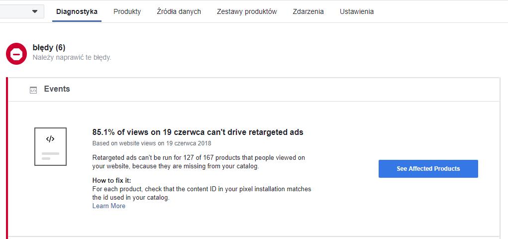 Diagnostyka katalogu produktów