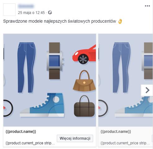Reklama dynamiczna na Facebooku - przykład