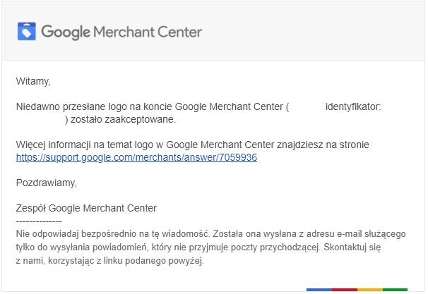 Informacja o zaakceptowanym logo w Merchant Center