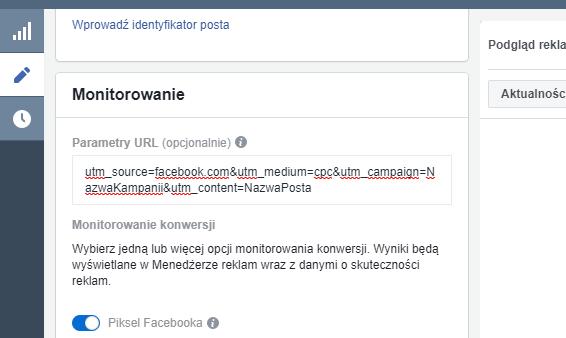 Dodawanie parametrów URL w Menedżerze reklam na Facebooku