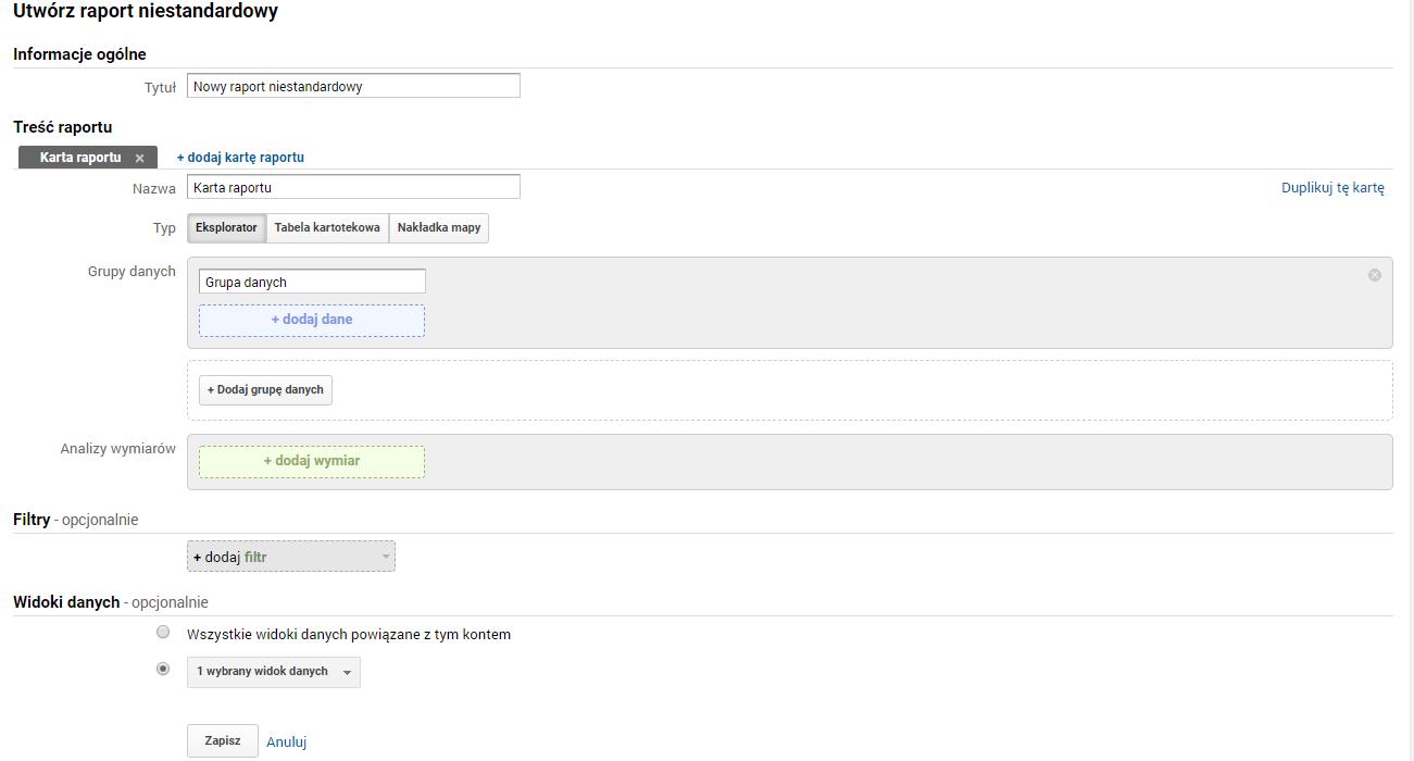 Tworzenie raportu niestandardowego w Google Analytics