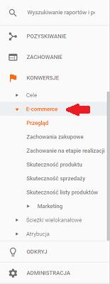 Raport E-commerce widoczny dla ulepszonego e-commerce