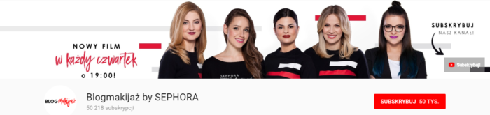 Kanał Blogmakijaż by SEPHORA na YouTube, źródło: https://www.youtube.com/user/blogmakijazpl/featured
