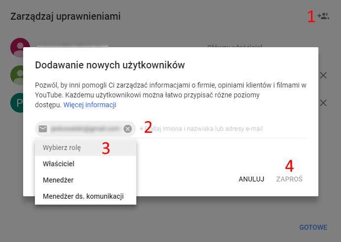 Google Moja Firma - dodanie użytkownika i wybranie uprawnień