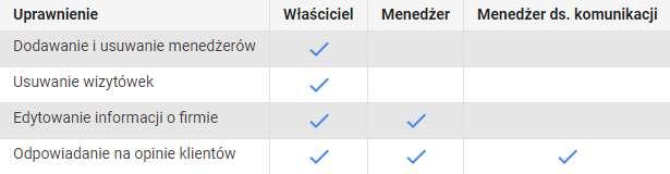 Google Moja Firma - tabelka z uprawnieniami