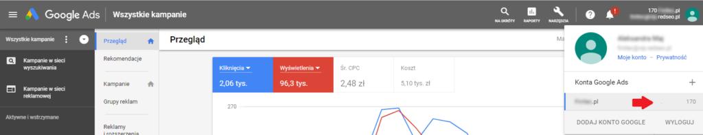 Numer konta Google Ads w ustawieniach konta