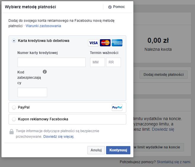 Dodanie płatności do konta reklamowego na Facebooku
