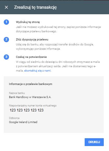 Informacja o numerze konta przypisanym do konta Google Ads