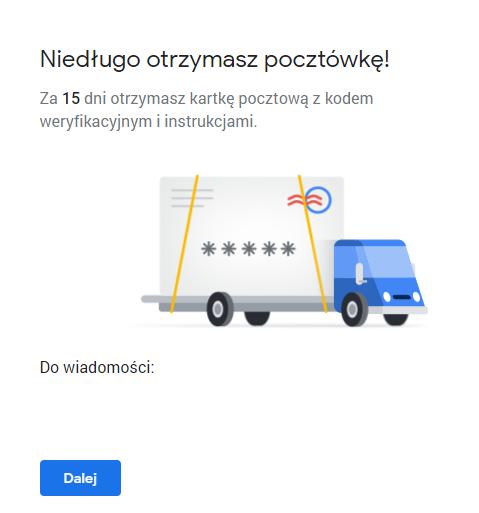 Informacja o pocztówce z kodem weryfikacyjnym