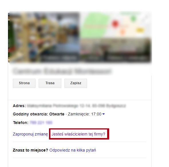 Przykład wizytówki Google Moja Firma bez właściciela