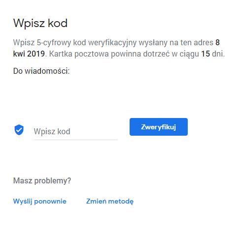 Miejsce na wpisanie kody weryfikacyjnego w Google Moja Firma