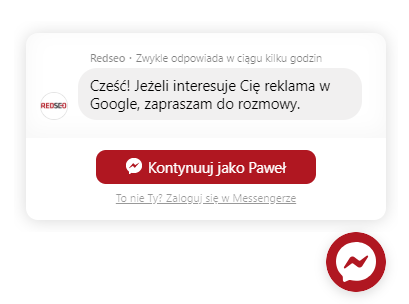 Messenger Chat na stronę internetową