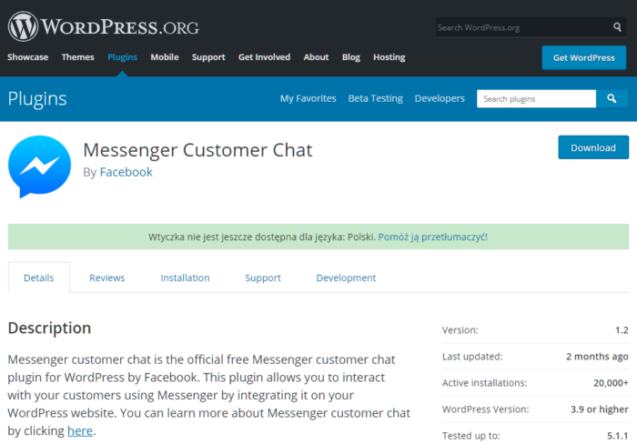 Messenger Chat dla WordPress