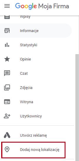 Dodanie nowej lokalizacji w Google Moja Firma