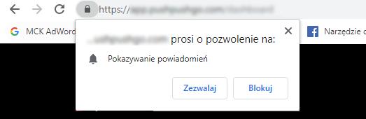 Przykład prośby o pozwolenie na wyświetlanie powiadomień Web Push