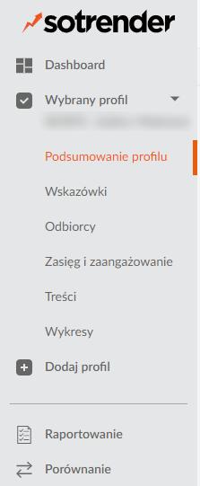 menu wyboru w Sotrenderze
