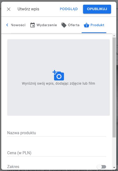 Tworzenie wpisu w Google Moja Firma