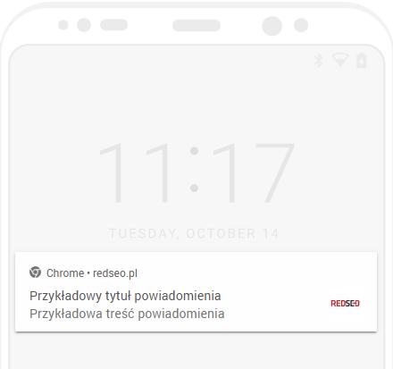 Przykład powiadomienia na urządzeniu mobilnym
