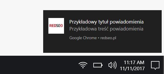 Przykład notyfikacji wyświetlanej na komputerze (Google Chrome)