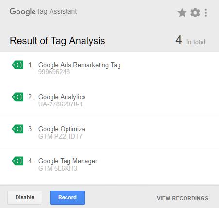 Wtyczka Google Tag Assistant